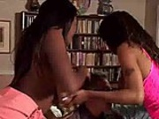 Horny black slut with round tits gets fucked hard on couch