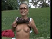 Hot European Girl Gives BJ To Hard Cock In Back Yard