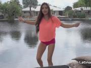 Perky Latina gf pov fucked outdoors