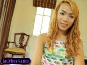 Blonde ladyboy beauty Gitar blowjob and handjob action