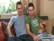 Two Hung Twinks Suck and Fuck On My Couch