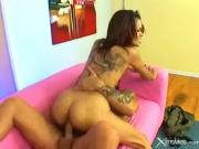 Skinny Latina whore spreads her thick pussy lip...