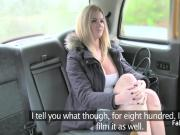 Blonde babe titfucking taxi driver