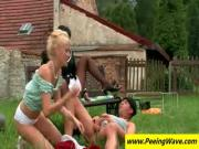 Lesbos gets nylons cummed outdoors