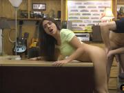 Pretty amateur brunette babe gets fucked by pawn keeper