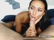 Hot Slim Chick Deep Throating a Long Hard Cock