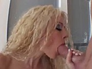 Blond slut with huge boobs gets asshole fucked hardcore on couch
