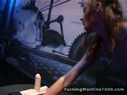Horny Redhead Rides On Top Of A Sybian