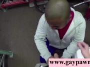 Black straight guy sucks white cock for cash