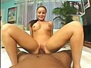Adoreable brunette hottie getting her fresh slit savagely slammed.