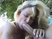 MILF with big tits gets cunt fucked hardcore outside