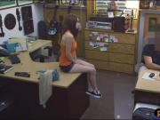 Sexy tight babe pawns her twat and drilled at the pawnshop