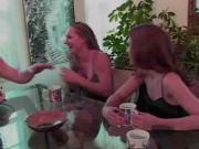 Hardcore lesbian fucking in the kitchen
