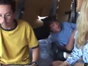 Sexy teen satisfies horny men in the van
