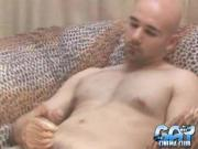 Bald Gay Wanks Dick over Armchair