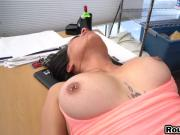 Brunette flashing her big tits with tattoo in casting show
