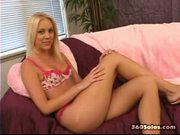 Young, Tanned Blond Pokes Herself