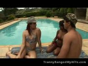Ethnic Tranny Joins Hot Couple For Sex