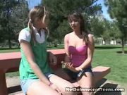 Cute Teen Lesbians Agree To Find A Guy For Thre...