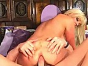 Hot blonde babe gets her shaved little pussy fucked real hardcore