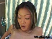 Asian babe rides cock