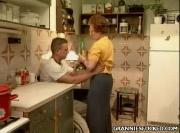Dirty Grandma Fucks At Kitchen