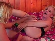 Dru and Emerald fuck with huge dildos