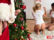 Two feisty women enjoyed a hard man meat near the xmas tree