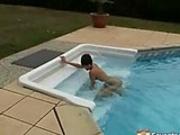 Girl seducing the pool cleaner