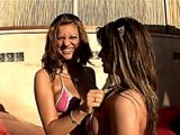 2 Hot Brunettes Fucked Outdoors