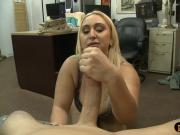 Busty and big ass amateur blonde babe boned by pawn guy