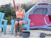 Fucking bigtit stranger while camping in nature