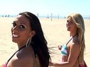 Lesbian Teen Orgy at Beach