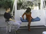 Black babe in red outfit gets ass slammed by th...