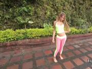 Latina tgirl cumming outdoors