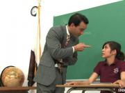 Excited Brunette Chick Spank Her Nice Butt By Her Teacher