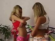 Lesbian teens with double dildos