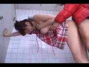 Asian Coed Fucked in Public WC!