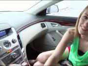 Blond teen babe Jenna Marie banged in the car by stranger