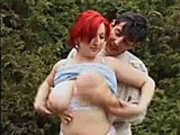 Chubby red head gets fucked hardcore outside on the lawn