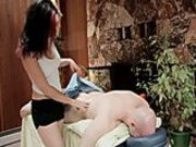 Freaky redhead gets fucked from behind on massage table