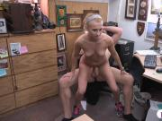 Hot blonde convinced to fuck pawn dude in his pawnshop