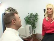 Blonde milf fucked at the office