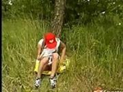 Schoolgirl masturbating in the park