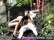BTS an African outdoor interracial gang bang filming