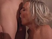 Super hot blond MILF plays with toy before getting fucked