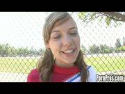 Cute innocent Nicole is a cheerleader at her hi...