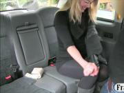 Blonde passenger gets her assholr ripped by the driver