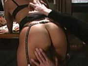 Brunette skank loves being punished by this very sadistic dude