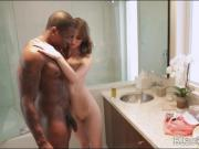 Pretty teen Jay Taylor interracial actiion in the bathroom